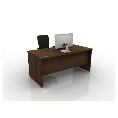 Contrax2 Panel End - Rectangular Desk (All Walnut)