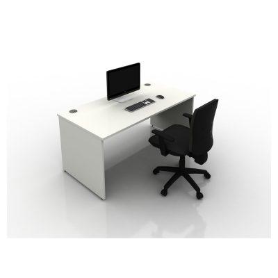 Contrax2 Panel End - Rectangular Desk (All White)