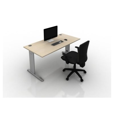 K2C - Rectangular Desk (Maple Top, Silver Frame)