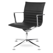 Aquila - Low Back Conference Swivel Armchair Ribbed - Fixed Arms