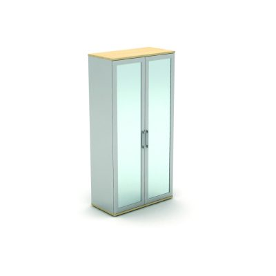 Frosted Glass Door Storage Unit with Silver Carcass