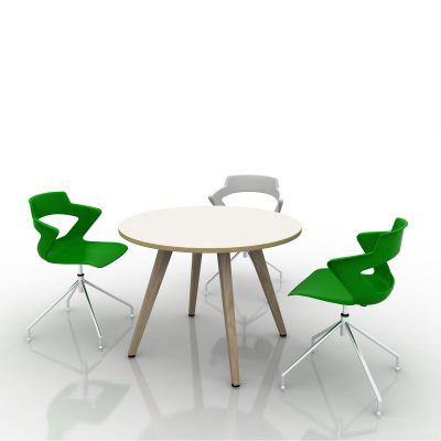 008 MOB16030 K003 Wood Vega round ARIA chairs